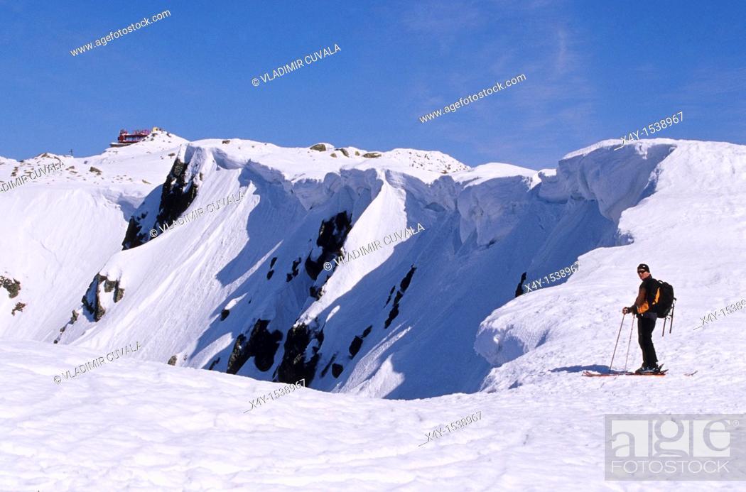 Stock Photo: Adventure seeking skier on the ridge heading from Derese to Chopok, Nizke Tatry, Slovakia.