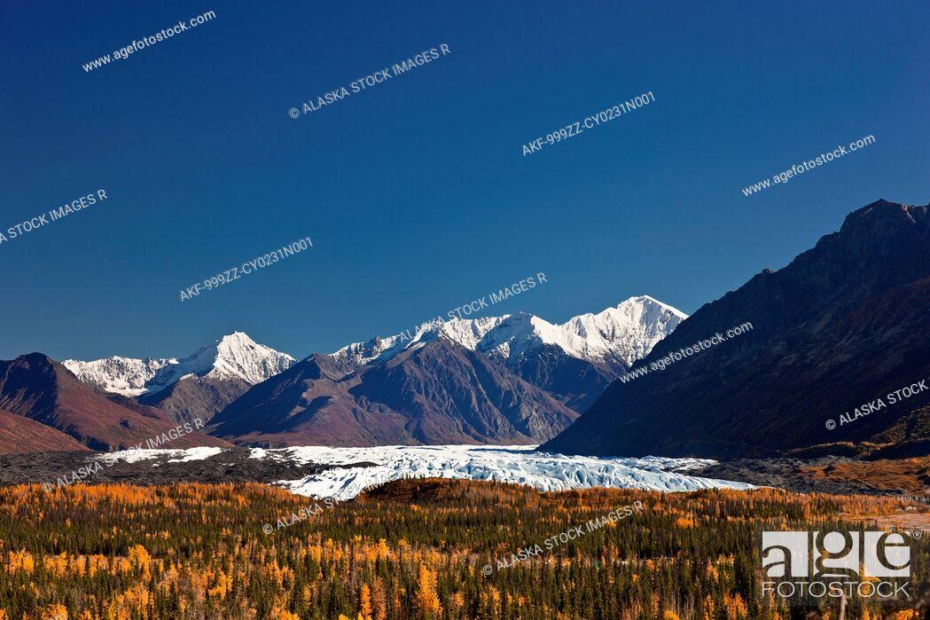 Stock Photo: Scenic of Matanuska Glacier and Chugach Mountains, Southcentral Alaska, Autumn.