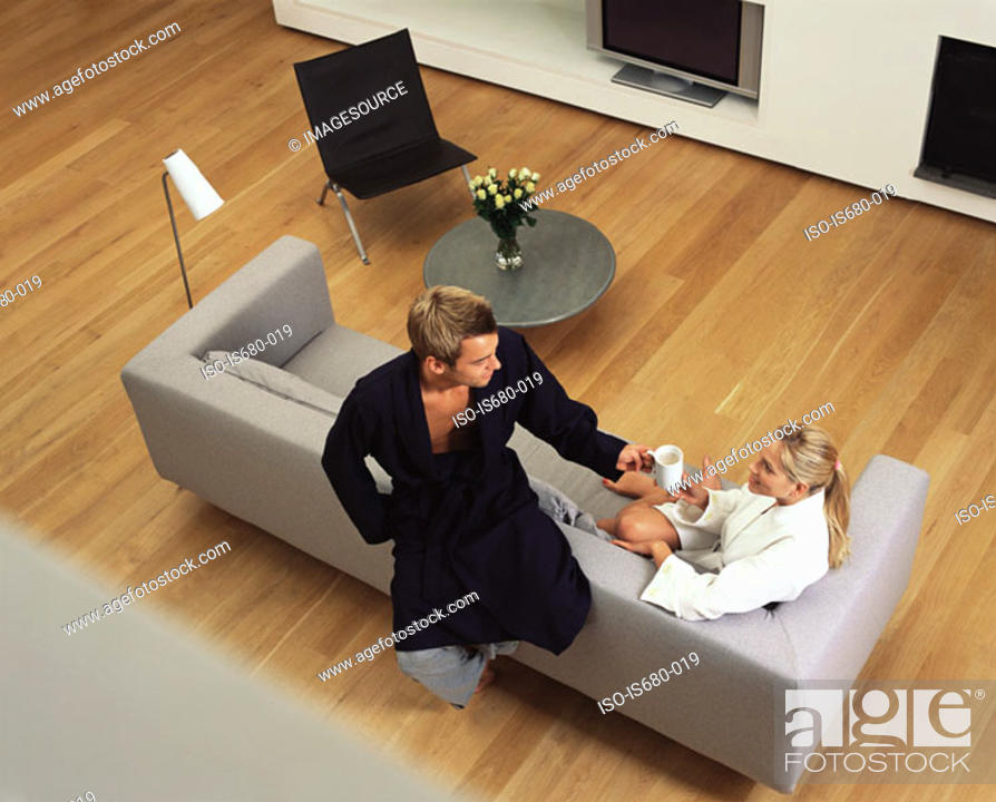 Stock Photo: Couple in their bathrobes.
