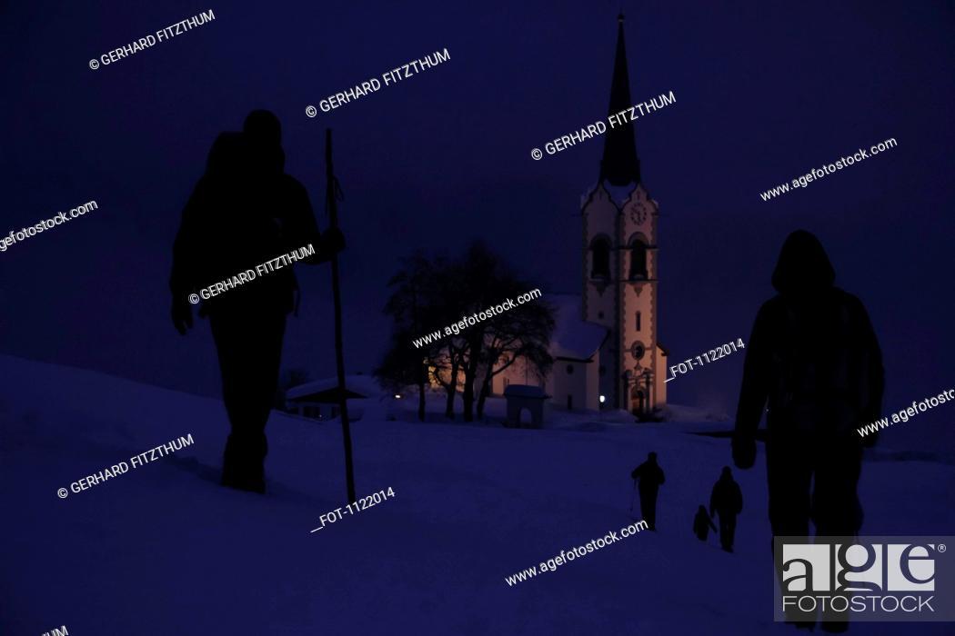 Stock Photo: Winter walk to church.