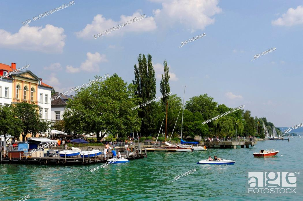 Stock Photo: Ueberlingen on Lake Constance, lakeside promenade and wharves, Baden-Wuerttemberg, Germany, Europe.