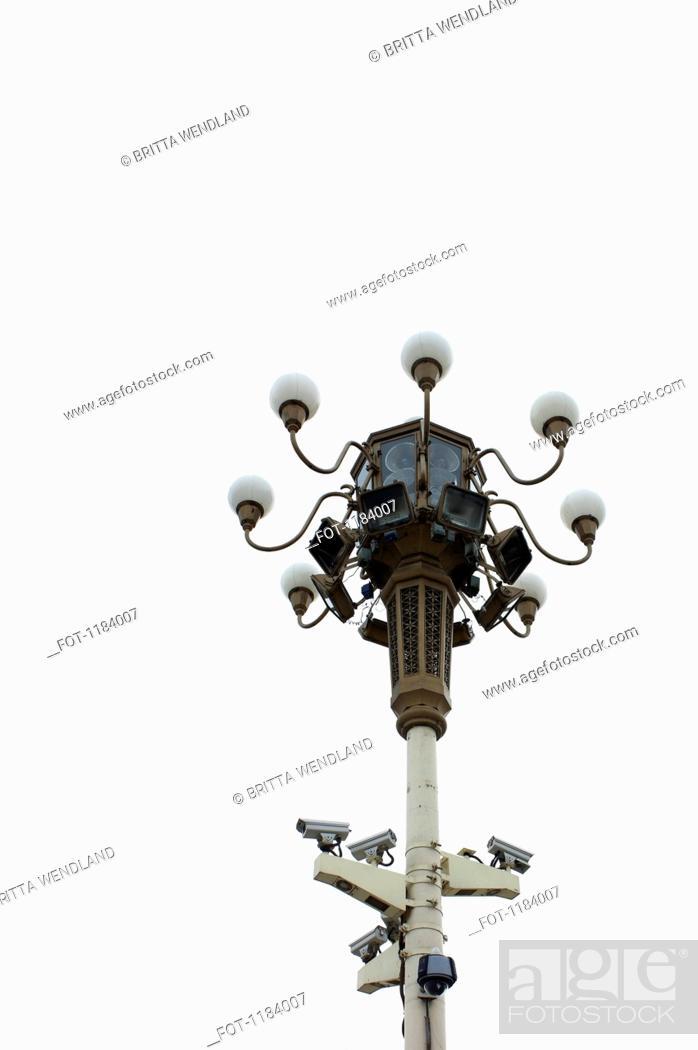 Stock Photo: Video surveillance in Tian An Men Square.
