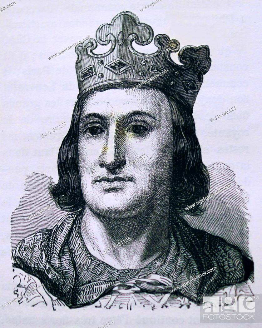Stock Photo: France, History- Philip II Augustus French: Philippe Auguste, 21 August 1165 - 14 July 1223 was the King of France from 1180 until his death A member of the.