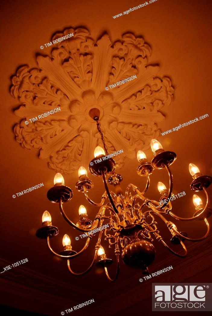 Stock Photo: Electric chandelier in tungsten light.