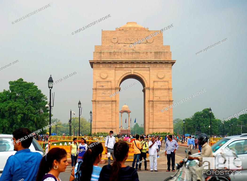 Stock Photo: The India Gate, (originally called the All India War Memorial), is a war memorial located astride the Rajpath, on the eastern edge of the 'ceremonial axis' of.
