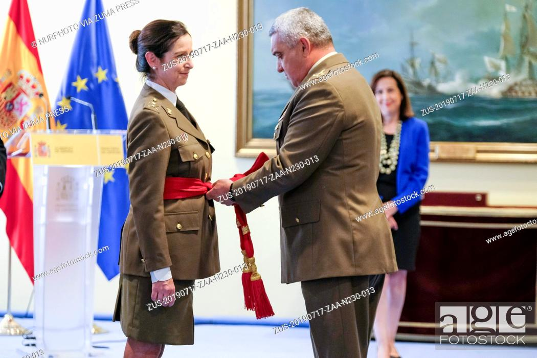 Stock Photo: July 17, 2019 - Madrid, Spain - Patricia Ortega, the first general woman of the Spanish Armed Forces, awarded the Fajin de General during a ceremony in Madrid.