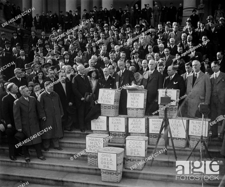 Stock Photo: Congress gets huge petition for reduction of federal tax on earned incomes in Dec. 1929. The petition was received by chairmen of the House and Senate Finance.
