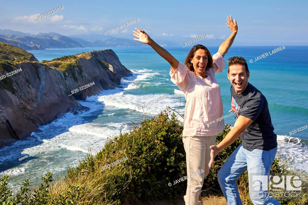 Stock Photo: Tourists, Tour, Flysch, Zumaia, Basque Country, Spain, Europe.