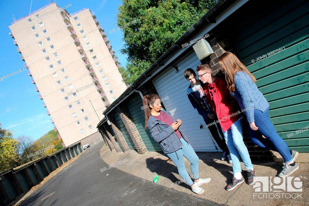 Stock Photo: Teenager group near flats.