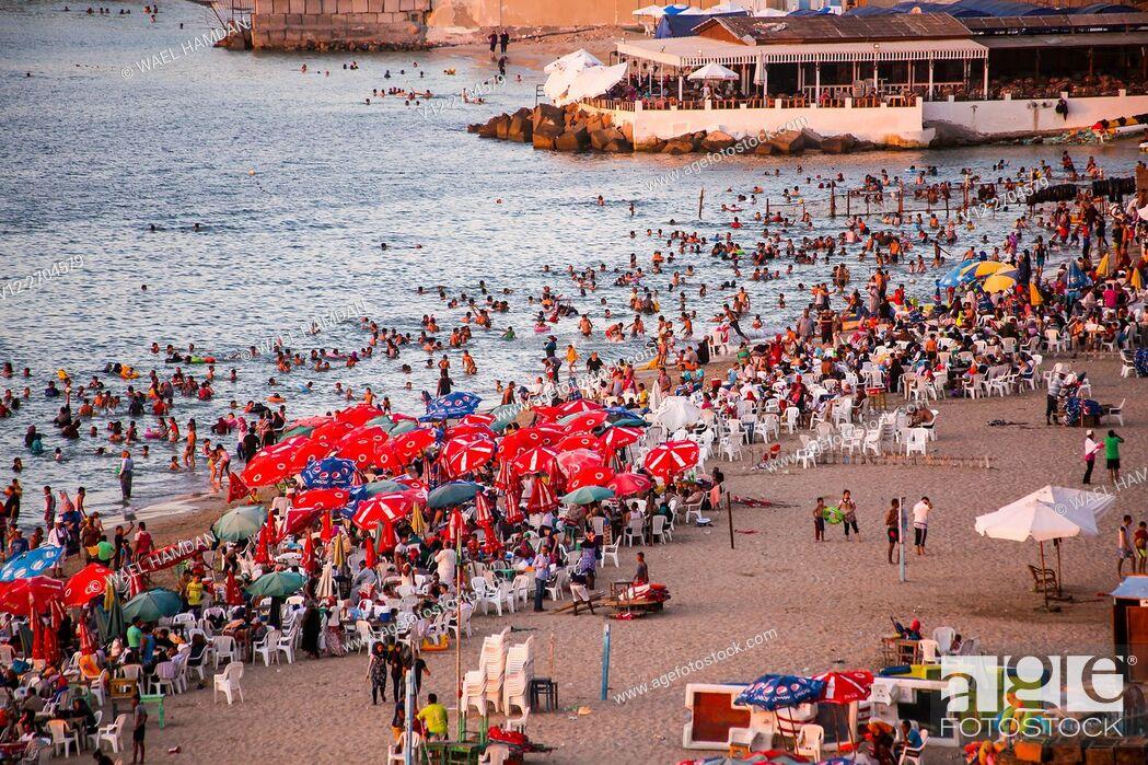 Stock Photo: Public beach, Alexandria, Egypt.