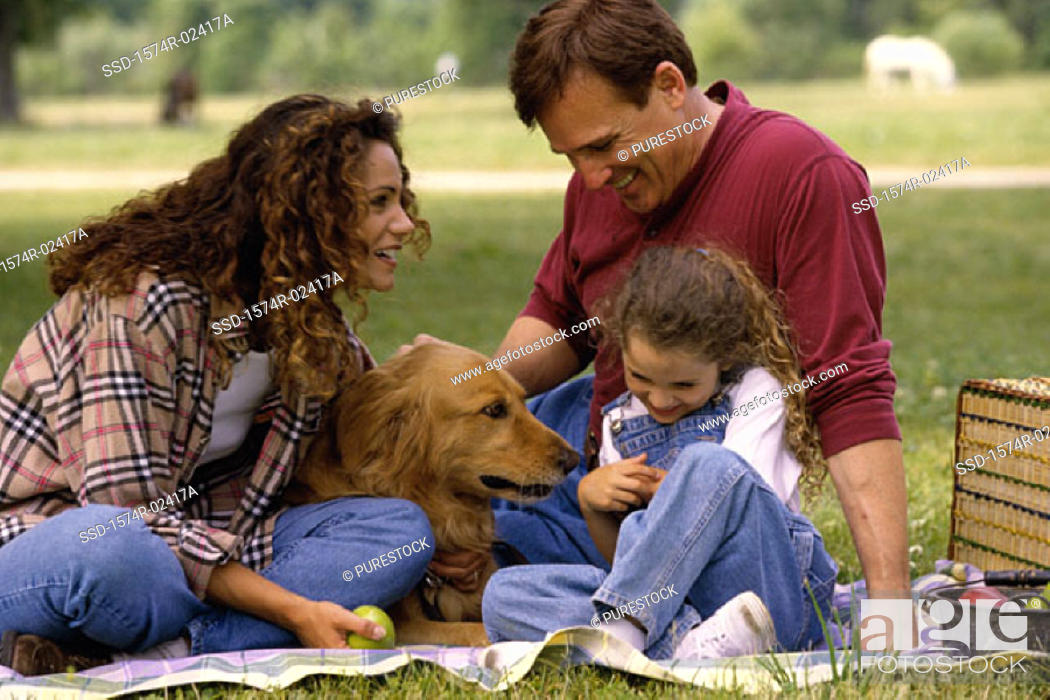 Stock Photo: Parents with their daughter and a dog.