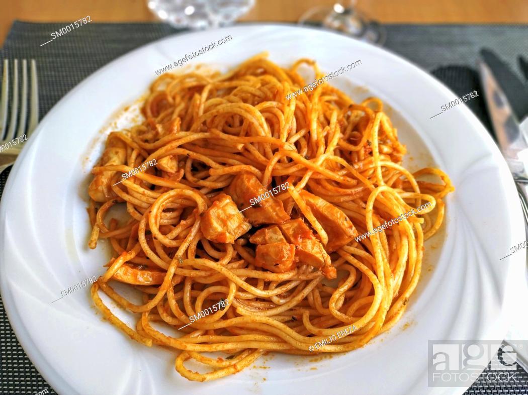 Stock Photo: Spaghetti with cuttlefish.