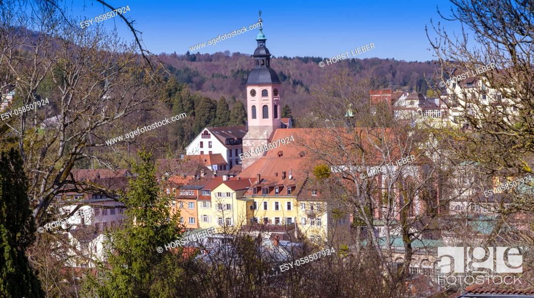 Photo de stock: View of the collegiate church in Baden Baden. Seen from Anna mountain. Baden Wuerttemberg, Germany, Europe.