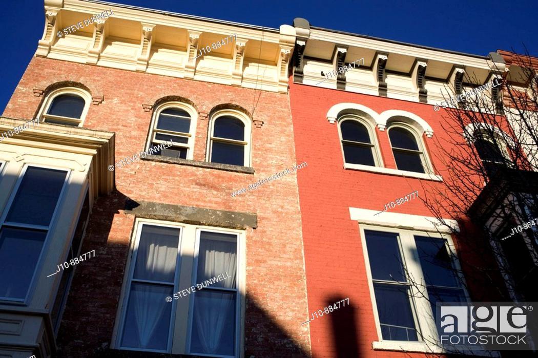 Stock Photo: Victorian brick buildings on Main Street, Hudson, New York, USA.