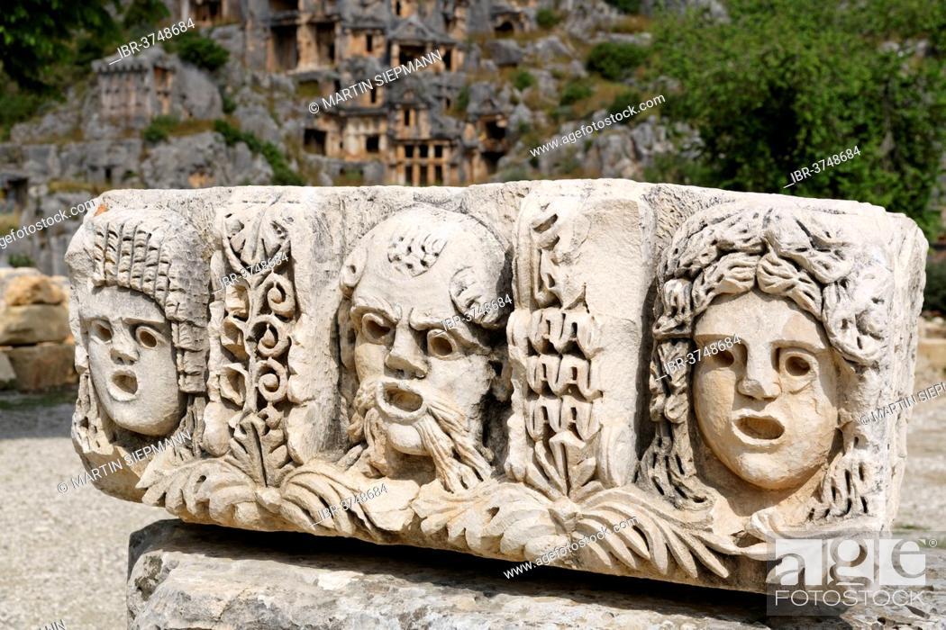 Stock Photo: Stone relief, masks, Myra, Demre, Lycia, Province of Antalya, Turkey.
