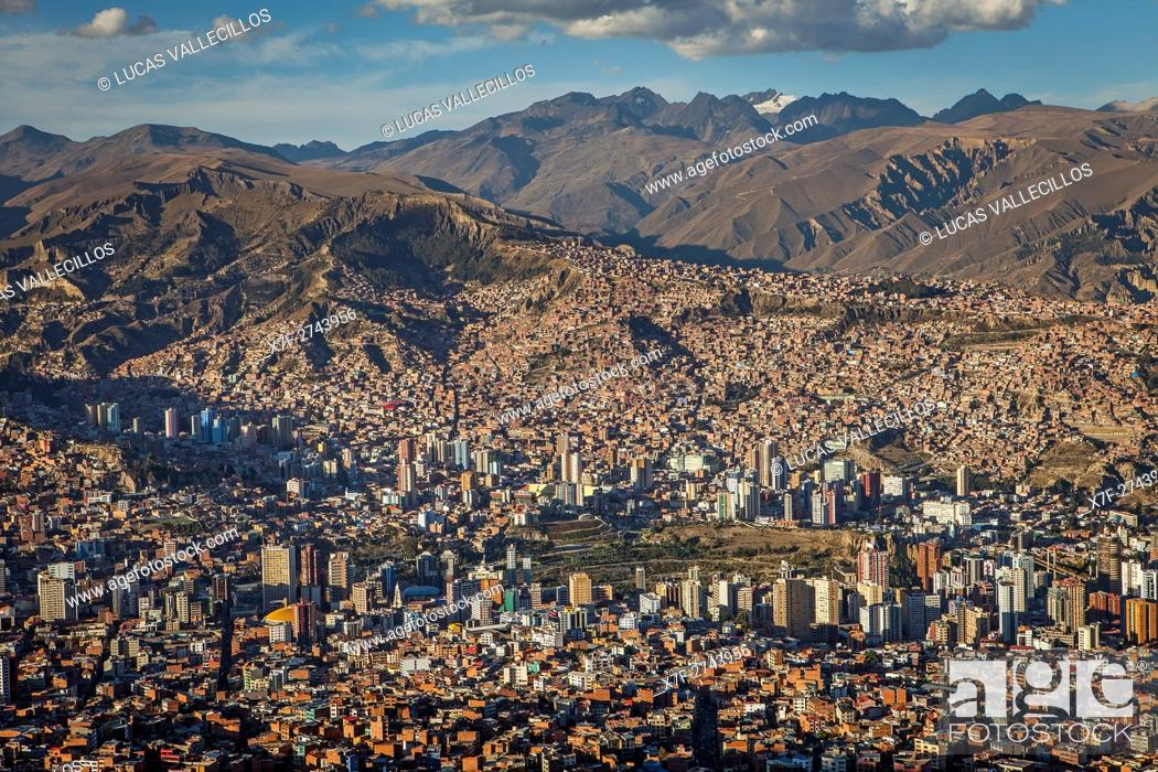 Stock Photo: Panoramic view of the city, in background Los Andes mountains, La Paz, Bolivia.