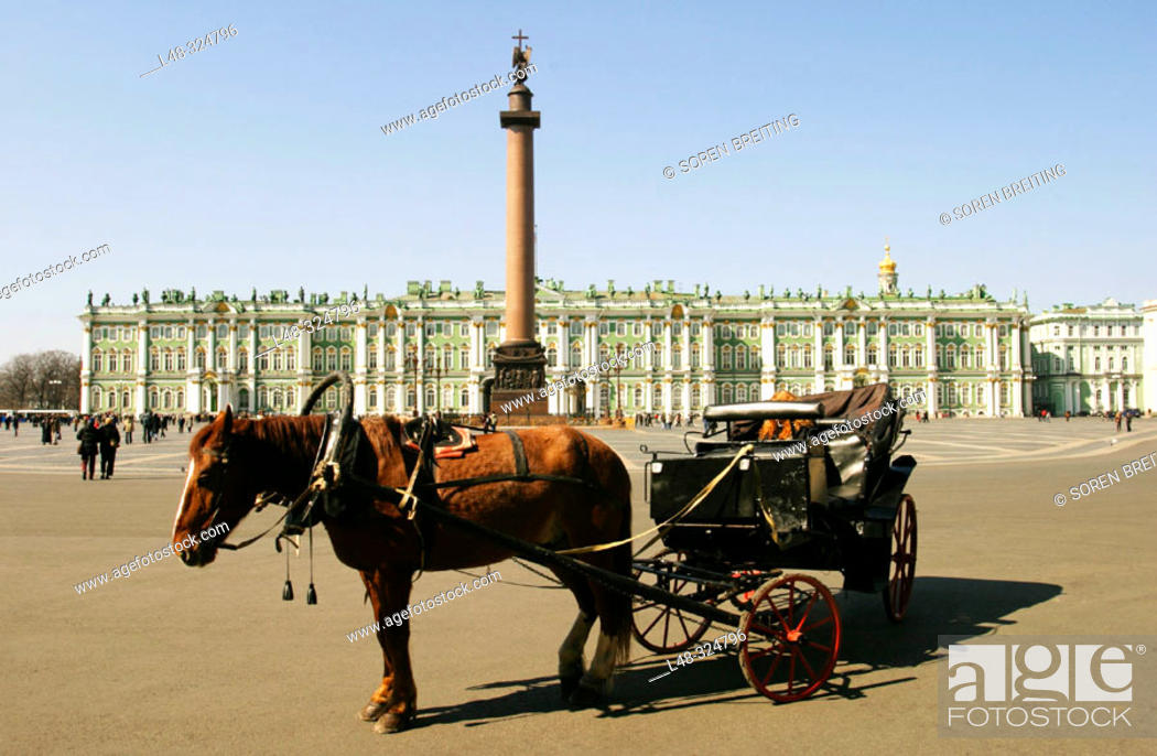 Stock Photo: Winter Palace with The Hermitage Museum, St. Petersburg, Russia, and Aleksander column at Dvortsovaya Ploshchad or Palace Square with horse and carriage in.