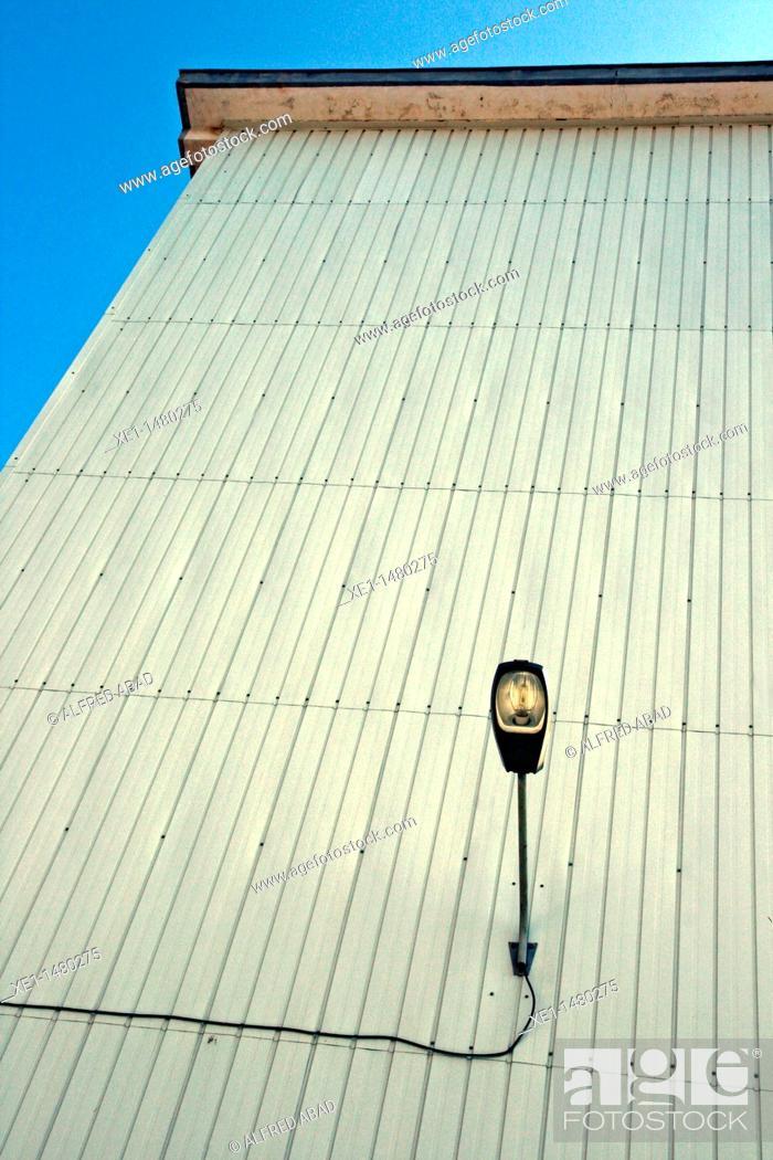 Stock Photo: lamppost, warehouse, Cornella de Llobregat, Catalonia, Spain.