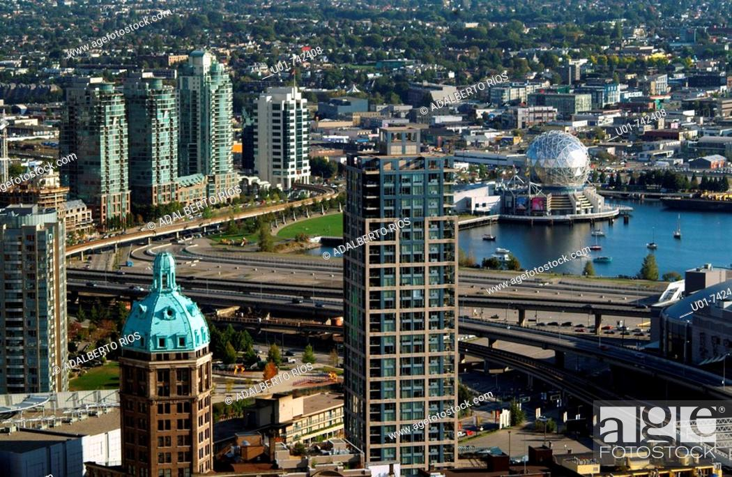 Stock Photo: Vancouver downtown, False Creek with the Geodesic Dome.