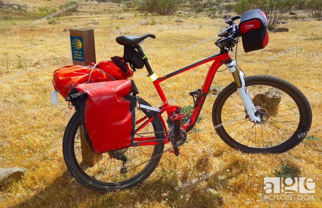 Stock Photo: Camino de Santiago by bicycle Saint James way of Levante.