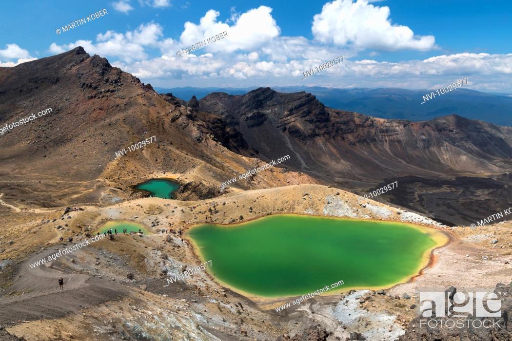 Stock Photo: View to the beautiful Emerald Lakes on top of the Tongariro Alpine Crossing, Tongariro National Park, North Island, New Zealand.