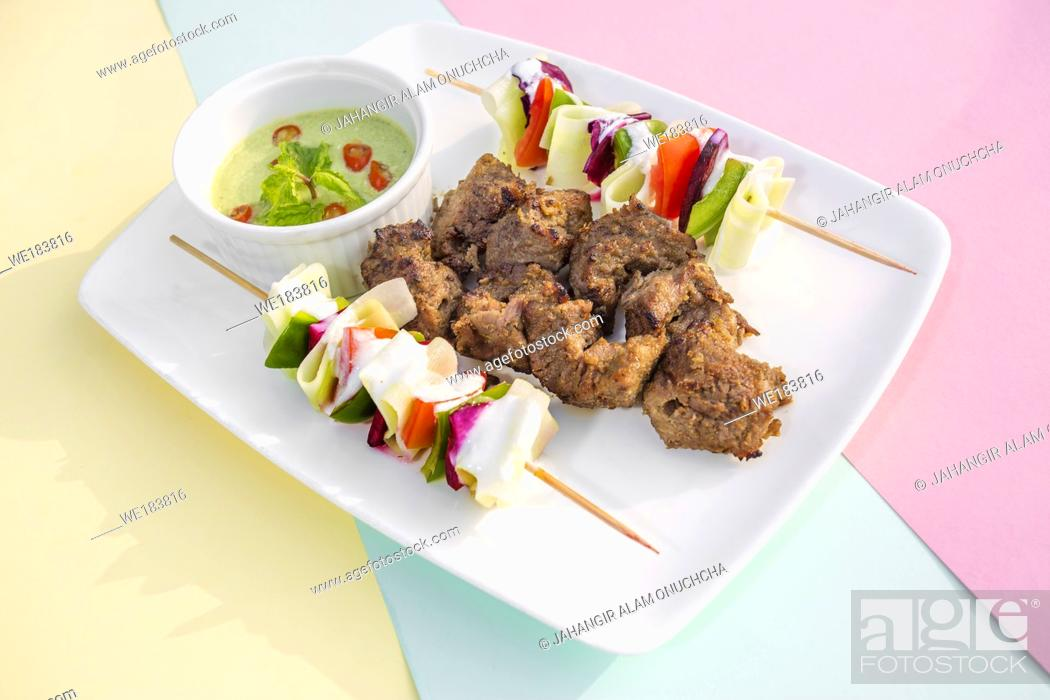 Stock Photo: Afgan kebab , it was a Afghanistan traditional recipes.