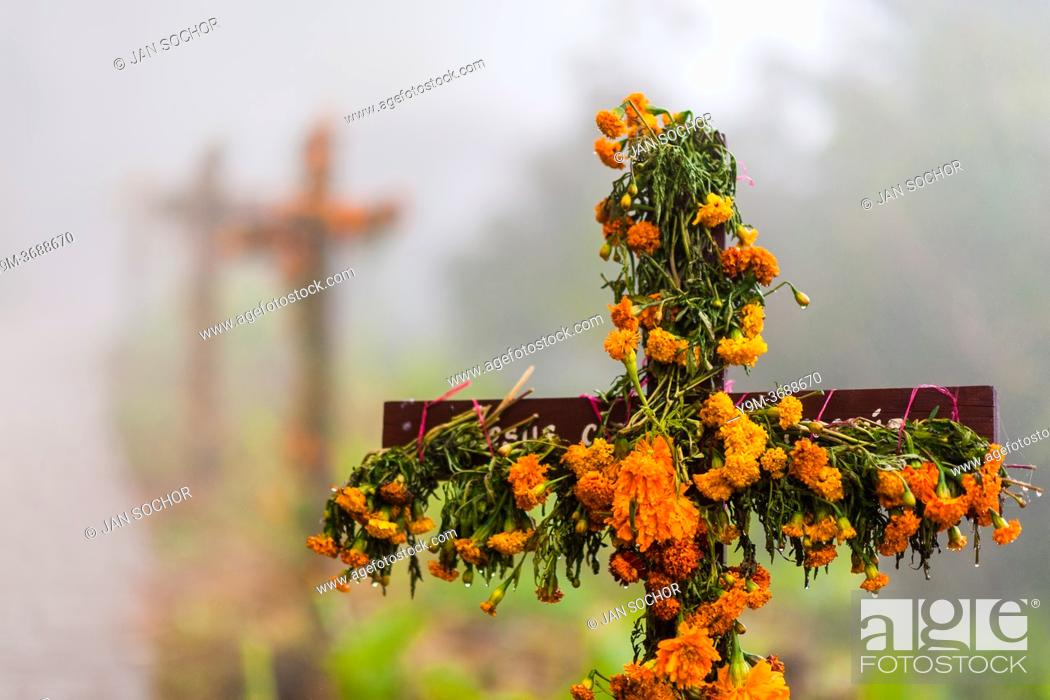 Stock Photo: A row of flower-decorated wooden crosses is erected along the way to a cemetery during the Day of the Dead celebrations in Ayutla, Mexico, 2 November 2019.
