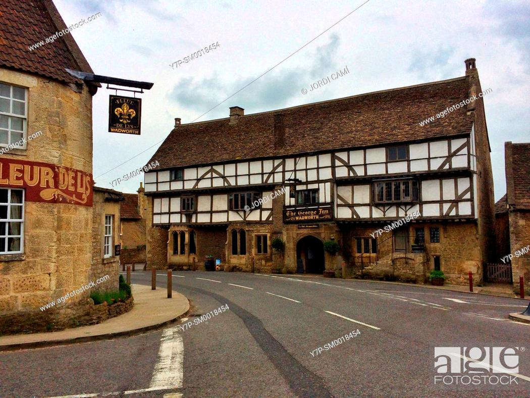 Stock Photo: The George Inn pub, Norton Saint Philip, Bath, . Somerset. England. United Kingdom.