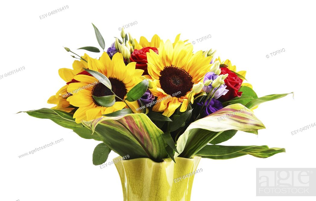 Stock Photo: Composition with bouquet of flowers including sunflowers and roses isolated on white.