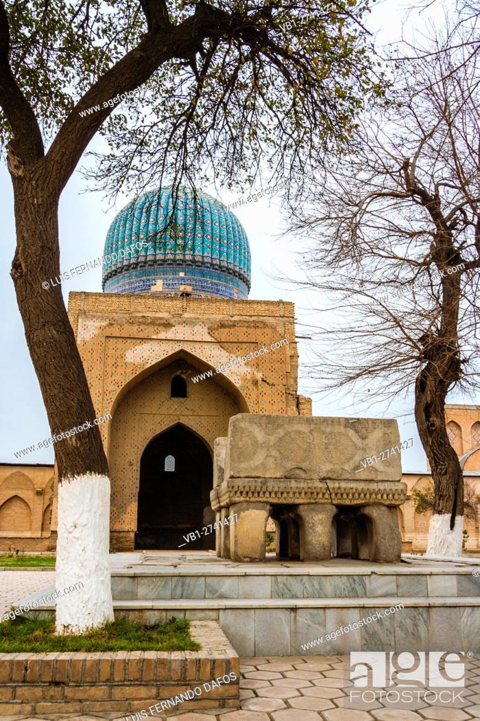 Stock Photo: Bibi Khanum Mosque with huge marble Koran stand on foreground, Samarkand, Uzbekistan.