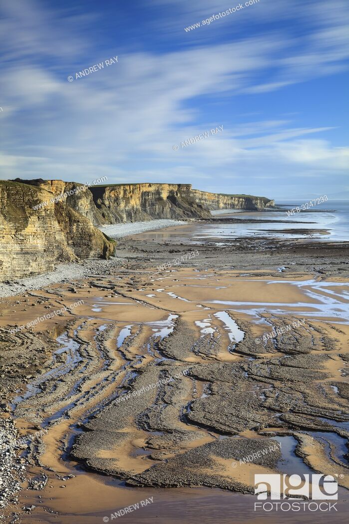 Stock Photo: The Glamorgan Heritage Coast in South Wales captured from the South Wales Coast Path, near Dunraven Park.