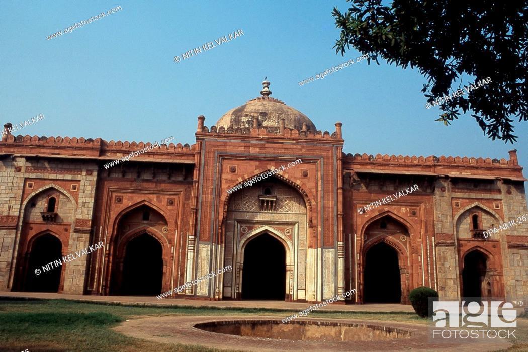 Stock Photo: View of Qila-i-Kuhna Mosque, Purana Qila, New Delhi, India, Asia.