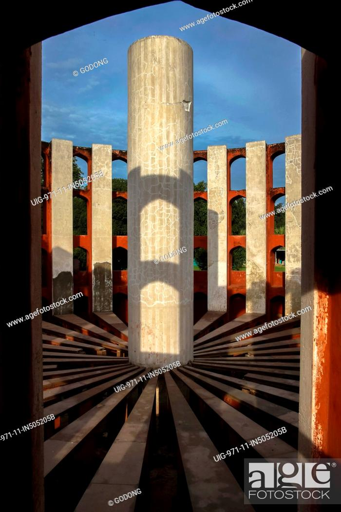 Stock Photo: Located in Delhi, Jantar Mantar consists of 13 architectural astronomy instruments. The site is one of five built by Maharaja Jai Singh II of Jaipur.