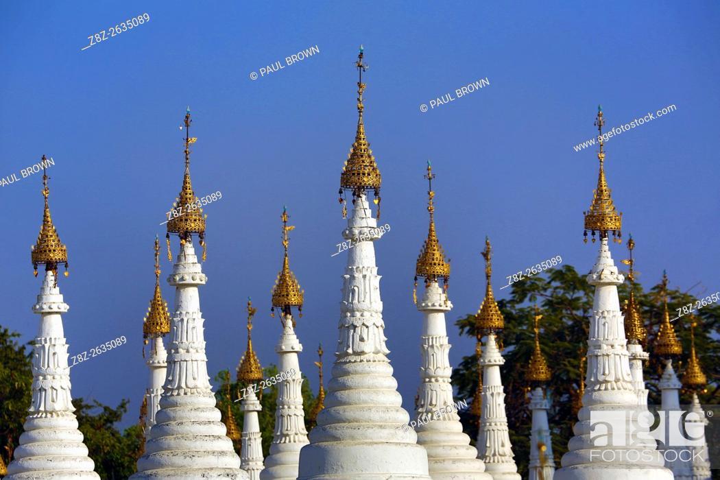 Stock Photo: White dhamma ceti shrines at Sandamuni Pagoda, Mandalay, Myanmar (Burma).