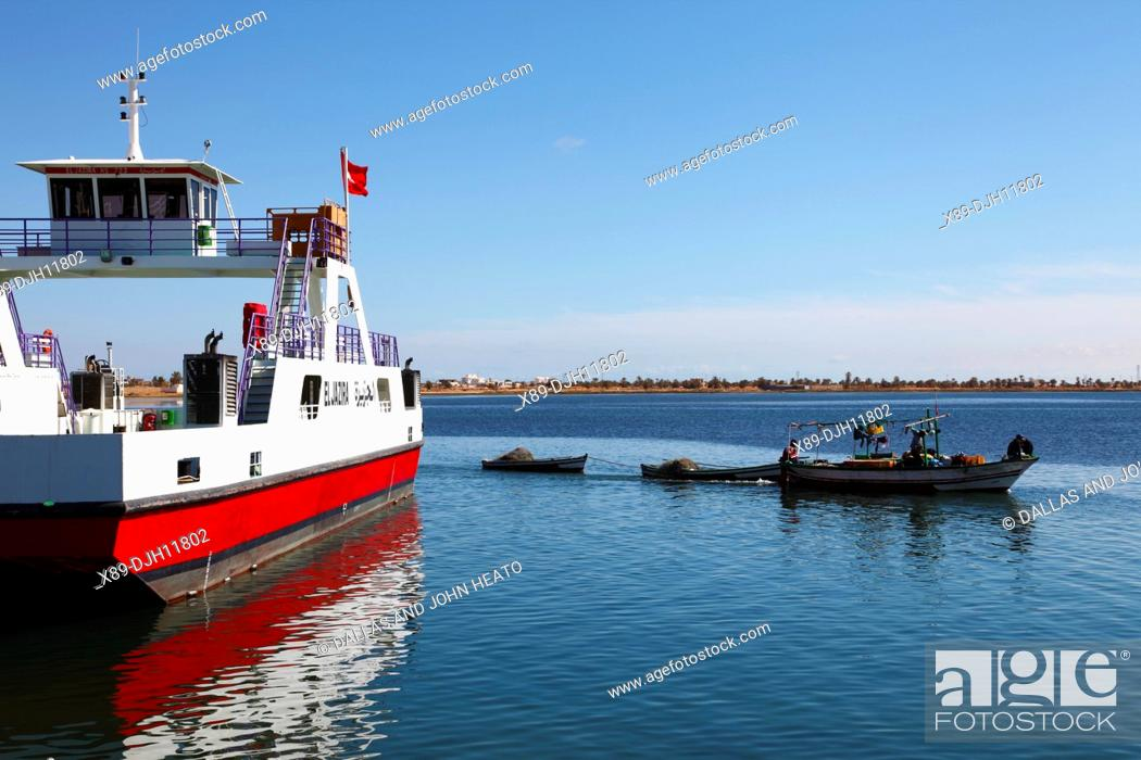 Stock Photo: Africa, Tunisia, Gulf of Gabès, Automobile Ferry Crossing from Ajim on Djerba Island to Jorf, Fishing Boat.