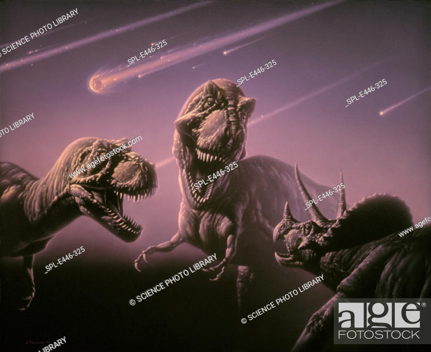 Stock Photo: 'Death of the dinosaurs. Artwork of two Tyrannos- aurus rex dinosaurs attacking a Triceratops (lower right), oblivious to the asteroids about to strike the.