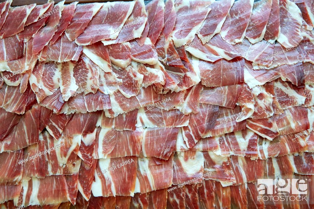 Stock Photo: Ham, Catering in congress, Donostia, San Sebastian, Gipuzkoa, Basque Country, Spain, Europe.