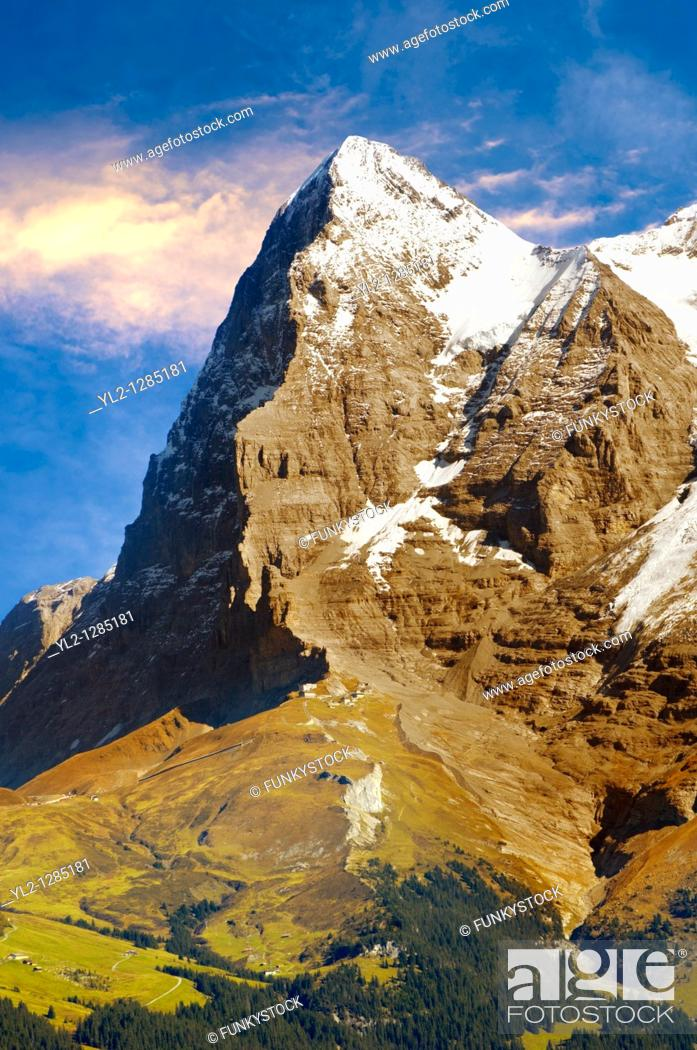 Stock Photo: The Eiger North Face from Murren - Alps Switzerland.