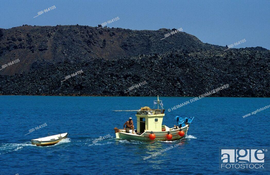 Stock Photo: Fishing boat near Nea Kameni, Santorini islands, Greece, Europe.