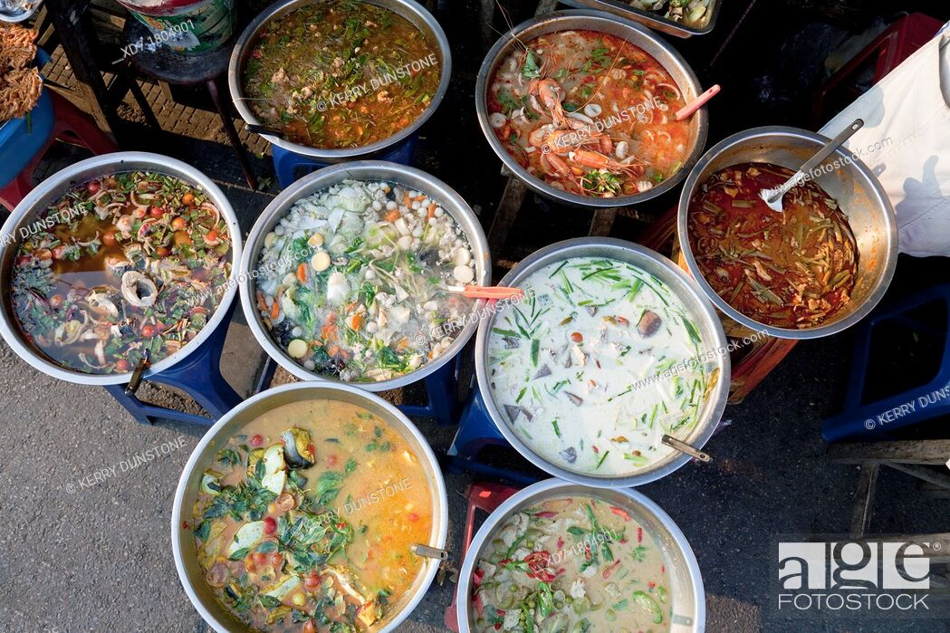 Stock Photo: Street food on sale in market, Chiang Mai, Thailand.
