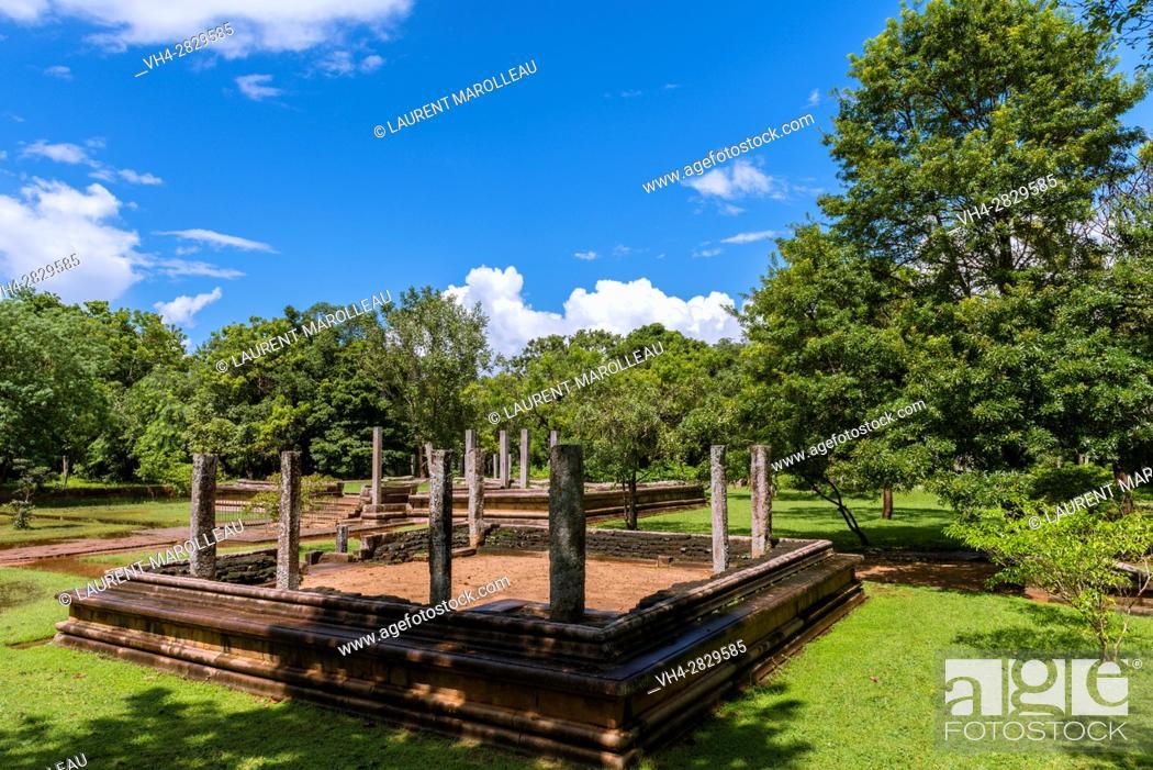 Stock Photo: One of Five Residences at Mahasena Palace (Pancavasa), Ahbayagiri Monastery, Sacred City of Anuradhapura, North Central Province, Sri Lanka, Asia.