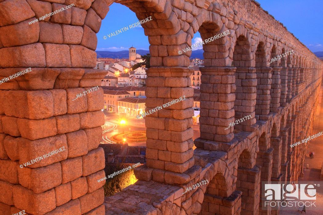 Stock Photo: first century Roman aqueduct in the square Azoguejo. Segovia.