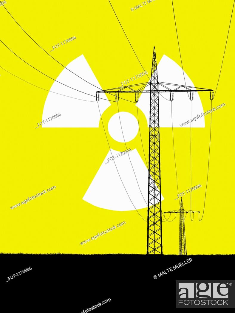 Stock Photo: Nuclear power sign in sky with electricity pylons in foreground.
