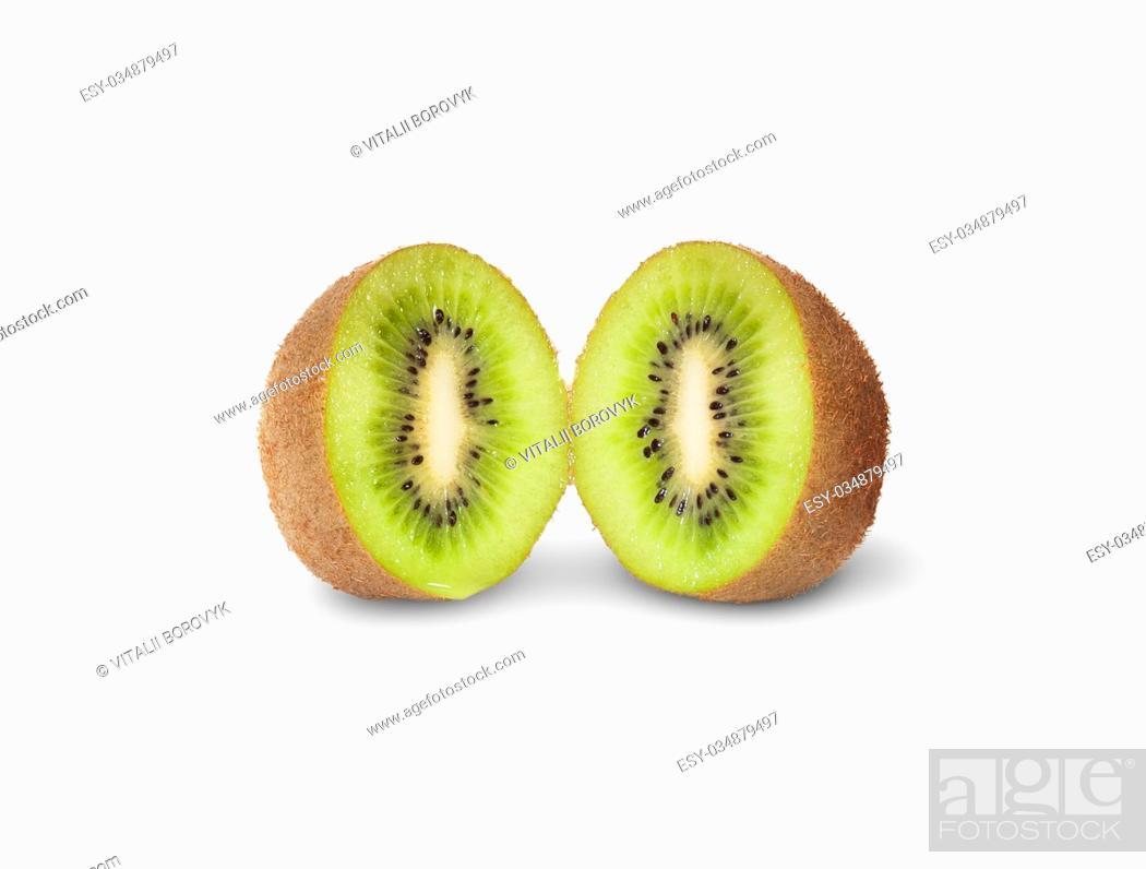 Stock Photo: Two Halves Juicy Kiwi Fruit Isolated On White Background.