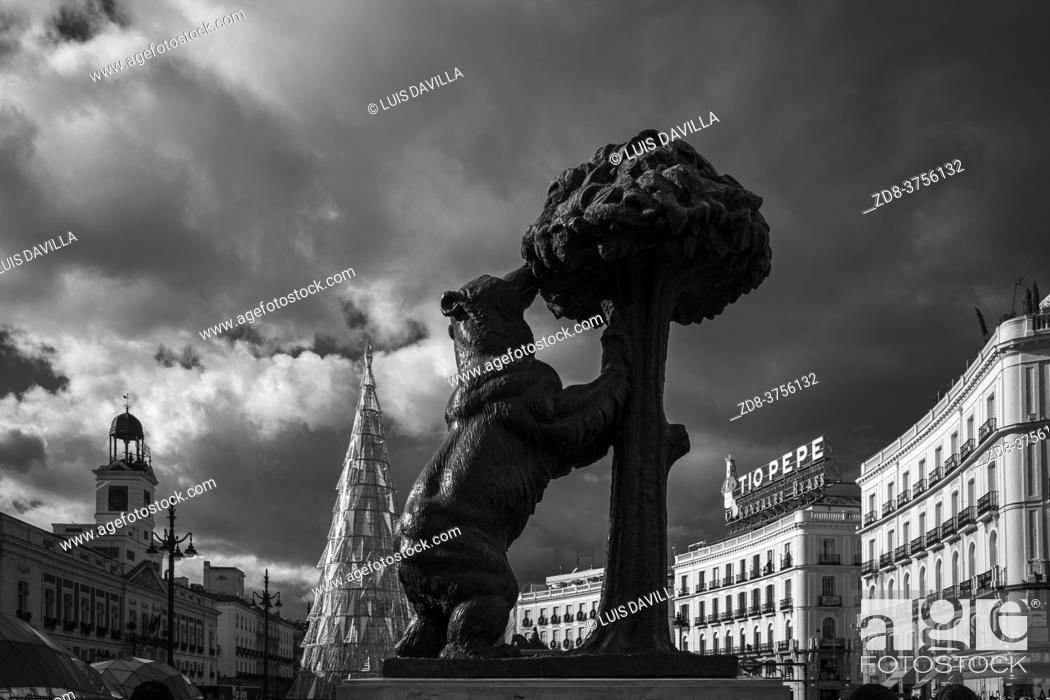Stock Photo: puerta del sol square with the Statue of the Bear and the Strawberry Tree. madrid. spain.
