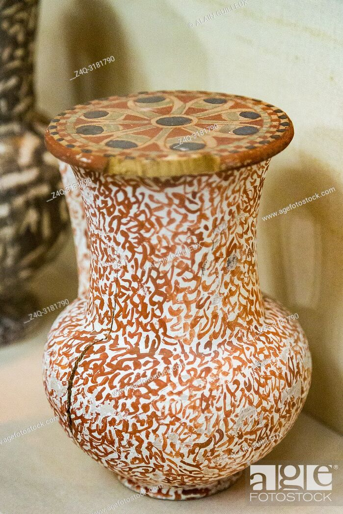Stock Photo: Egypt, Cairo, Egyptian Museum, from the tomb of Yuya and Thuya in Luxor : Dummy vase in wood, painted to imitate granite, with nice decorations on the lid.