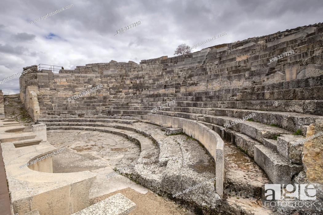 Stock Photo: Teatro romano, parque arqueológico de Segóbriga, Saelices, Cuenca, Castilla-La Mancha, Spain.