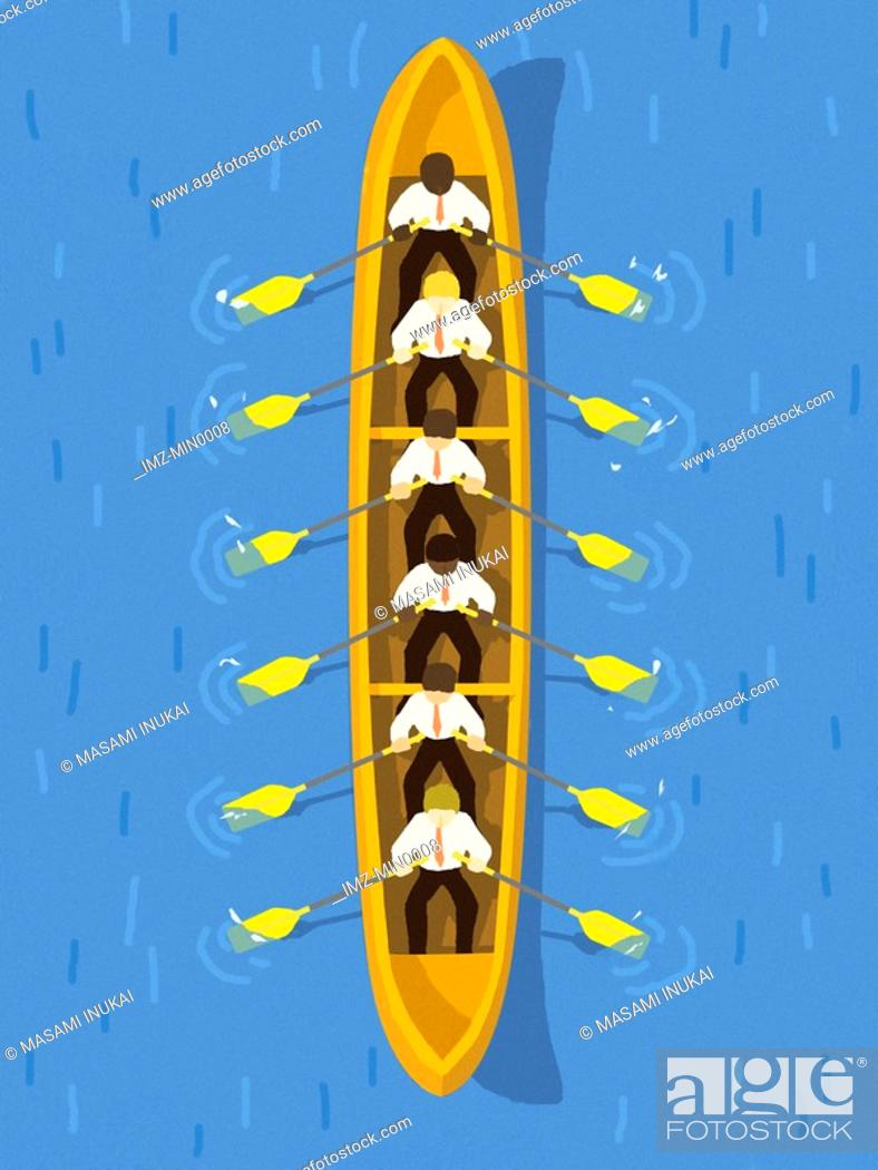 Stock Photo: Businessmen rowing a long boat.