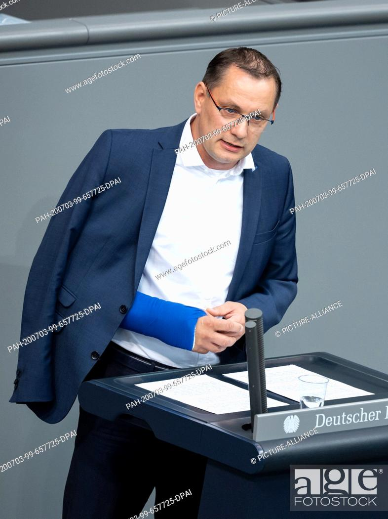 Stock Photo: 03 July 2020, Berlin: Tino Chrupalla (AfD) speaks in the plenary session of the German Bundestag. The main topics of the 171st session of the 19th legislative.
