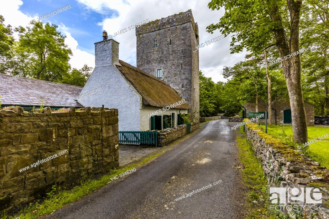 Stock Photo: Thoor Ballylee Castle or Yeats Tower built 15th or 16th century lived in by poet William Butler Yeats in town if Gort County Galway Ireland.